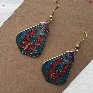 Vintage Chinese cloisonne butterfly drop earrings